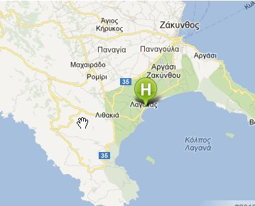 Location of Zante Plaza hotel in Laganas About Plaza Hotel